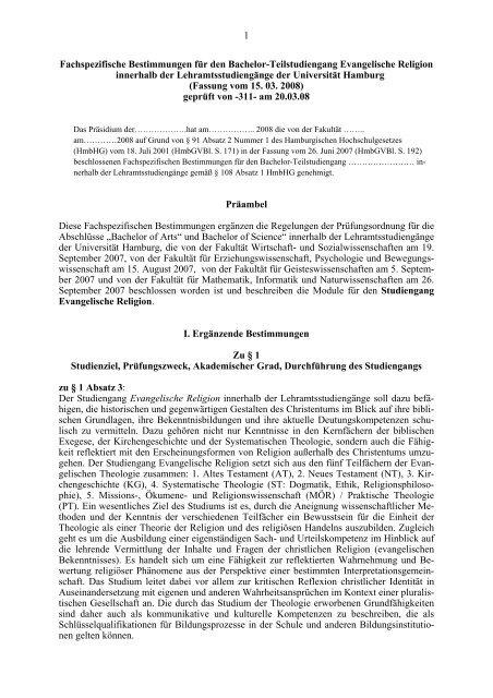 Fachspezifische Bestimmungen - Universität Hamburg