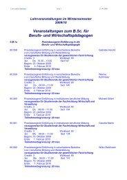 Lehrveranstaltungen Wintersemester 2009/10 - Institut für Berufs ...