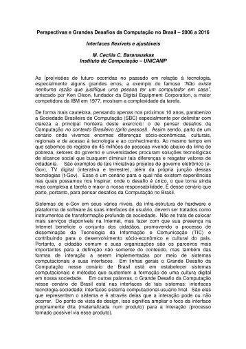 Perspectivas e Grandes Desafios da Computação no Brasil – 2006 ...