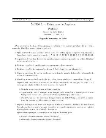 Segunda lista de exercícios - Unicamp