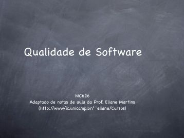 Qualidade de Software - Unicamp