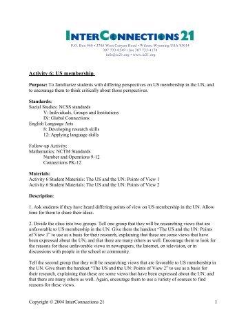 Activity 6: US membership - InterConnections 21
