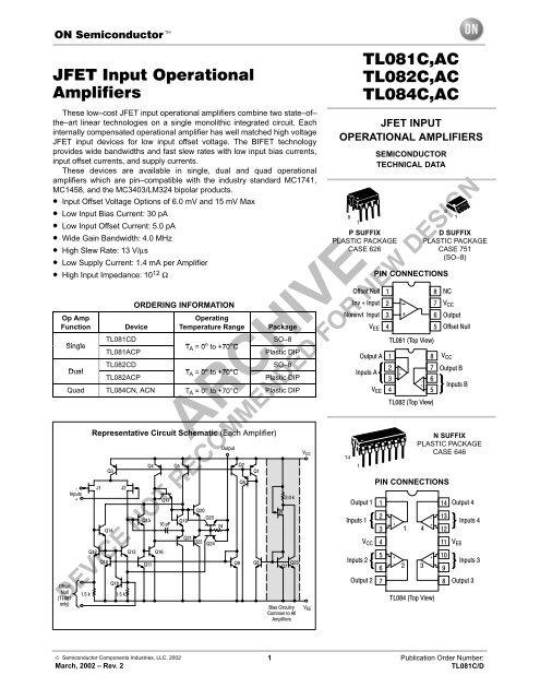 JFET Input Operational Amplifiers TL081C,AC TL082C,AC TL084C,AC