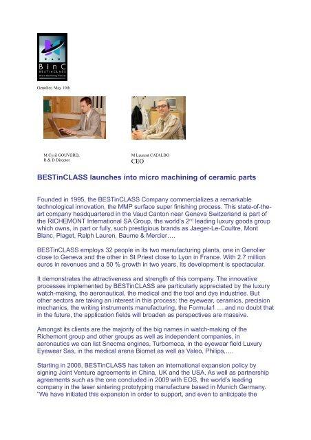 Sans titre - BINC- BESTinClass Micro Machining Process