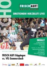 Echo Heft Nr. 8, FRISCH AUF! Göppingen - VfL Gummersbach
