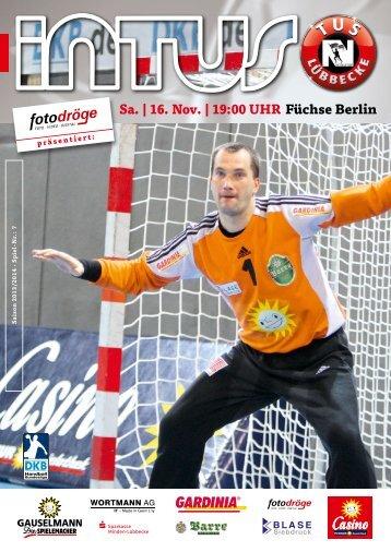 Sa. | 16. Nov. | 19:00 UHR Füchse Berlin - Fanclub Red Devils eV