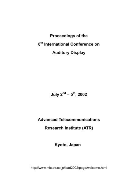 Proceedings of the - International Community for Auditory Display