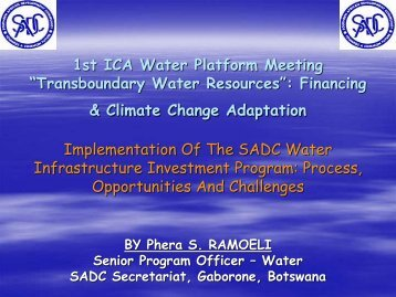 implementation of the sadc water infrastructure investment program