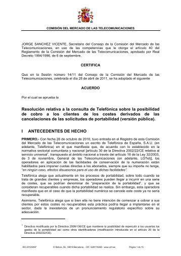 Resolución relativa a la consulta de Telefónica sobre la ... - Blog CMT