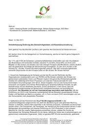 Vernehmlassungsdokument - Bio Suisse