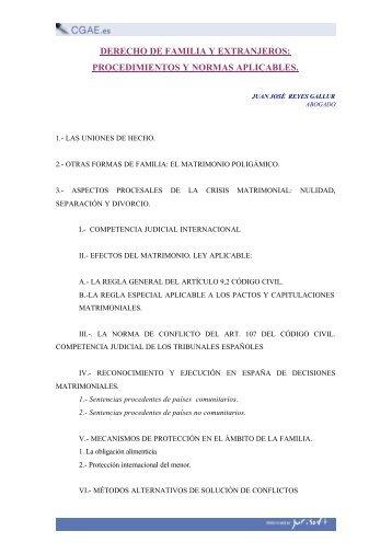 DERECHO DE FAMILIA Y EXTRANJEROS: PROCEDIMIENTOS Y ...