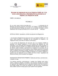 Borrador de reglamento de la Ley Orgánica 4/2000, de 11 de enero ...