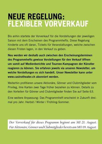 Neue RegeluNg: FlexibleR VoRVeRkauF - Casinotheater Winterthur