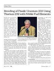 Breeding of Fissile Uranium 233 Using Thorium 232 with Pebble ...