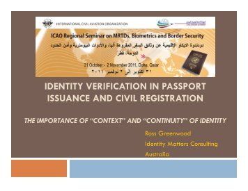 Identity Verification in Passport Issuance and Civil Registration - ICAO