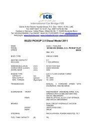 ISUZU PICKUP 2.5 Diesel Model 2011 - ICB - International Car Bridge