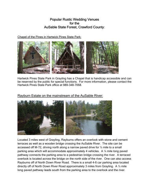Popular Rustic Wedding Venues on the AuSable ... - State of Michigan