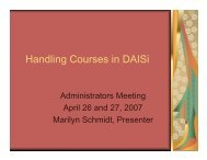 Handling Courses in DAISi - Illinois Community College Board