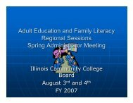 Adult Education and Family Literacy Regional Sessions Spring ...