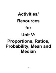 Activities/ Resources for Unit V: Proportions, Ratios, Probability ...