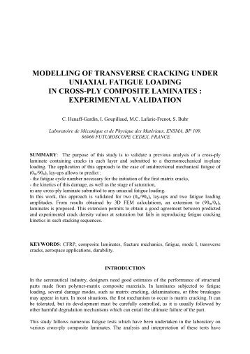 modelling of transverse cracking under uniaxial fatigue ... - ICCM