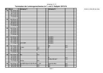 Terminplan der Leistungsnachweise 2013/14 - Dreieichschule