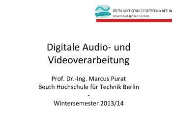 Einführung Wintersemester 2013/14 - Beuth Hochschule für Technik ...