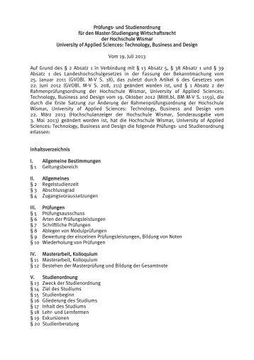 Prüfungs - Hochschule Wismar