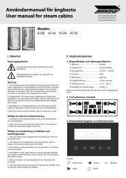 Manual för ångbastukabiner - Arrow
