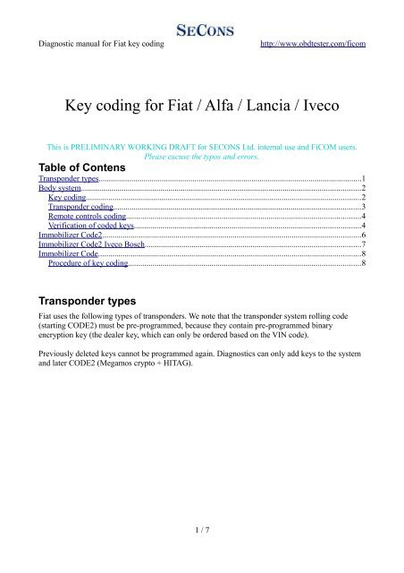 Key coding for Fiat / Alfa / Lancia / Iveco - Auto diagnostics
