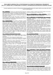 Regolamento di partecipazione alle iniziative promozionali dell'ICE ...