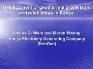 Environment Management at Olkaria Geothermal Project