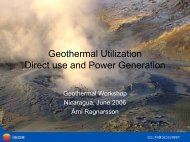 Geothermal Utilization Direct use and Power Generation