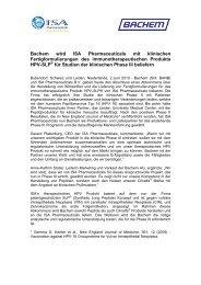 Bachem wird ISA Pharmaceuticals mit klinischen ...
