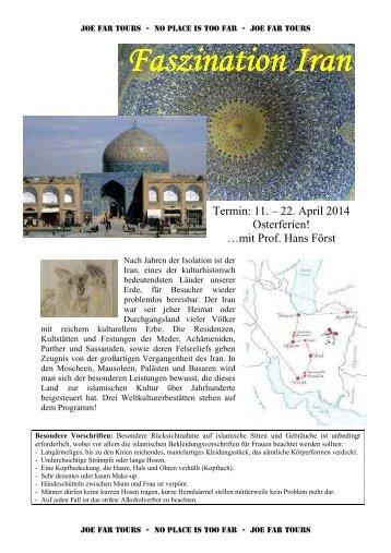 Detailprogramm für die Reise: Iran zu Ostern - Joe Far Tours