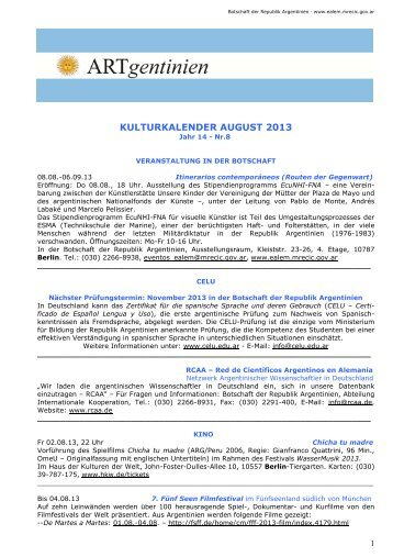 kulturkalender august 2013 - Embajada de la República Argentina ...