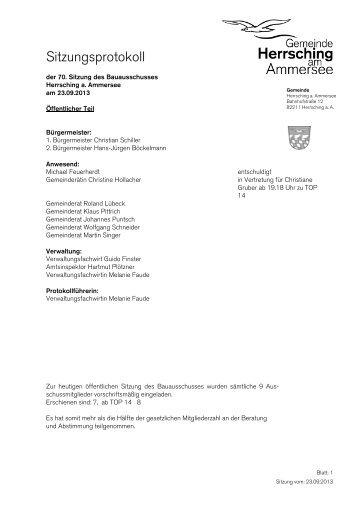 Protokoll 70. Sitzung 23.09.2013 - Herrsching am Ammersee