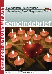 """Dezember 2013 - Evangelisch-Freikirchlichen Gemeinde """"ZOAR"""""""