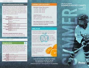 2013 summer hockey camps brochure (pdf) - Canlan Ice Sports