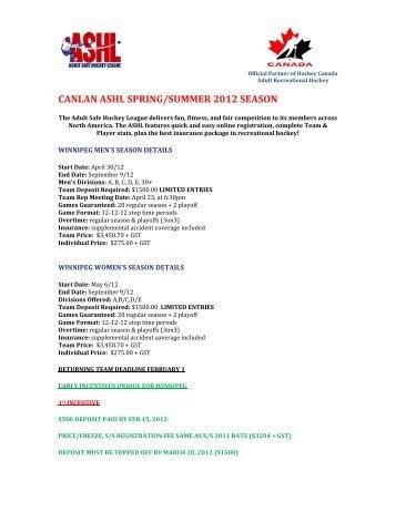 CANLAN ASHL SPRING/SUMMER 2012 SEASON - Canlan Ice Sports