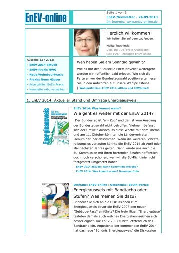 EnEV-Newsletter: EnEV 2014 kommt + EnEV ... - ENEV-Online.de
