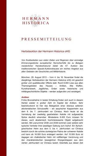 Pressemitteilung Ankündigung Herbstauktion - Hermann Historica