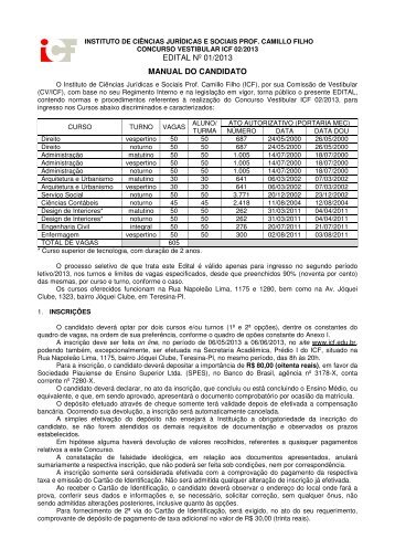 EDITAL Nº 01/2013 MANUAL DO CANDIDATO - ICF
