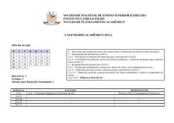 Calendário 2012/2 - ICF