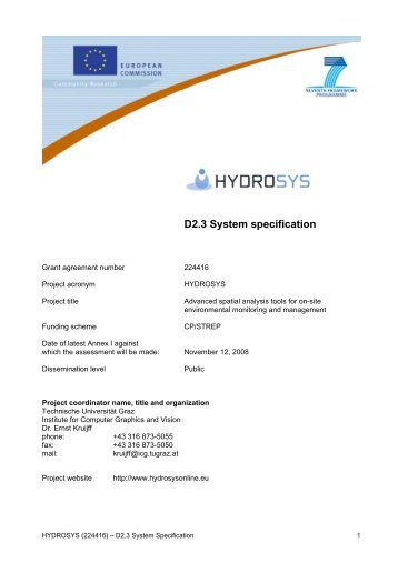 D2.3 System specification - Institute for Computer Graphics and Vision