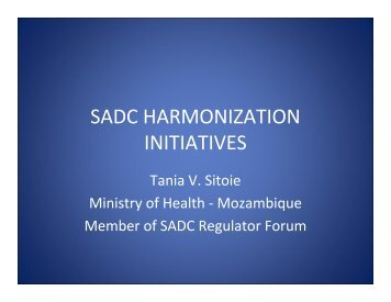 SADC HARMONIZATION INITIATIVES - ICH