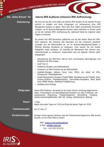 """Die """"Hohe Schule"""" für Interne IRIS Auditoren (intensive ... - CC-Rail"""