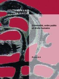 Criminalité, ordre public et droits humains - The ICHRP