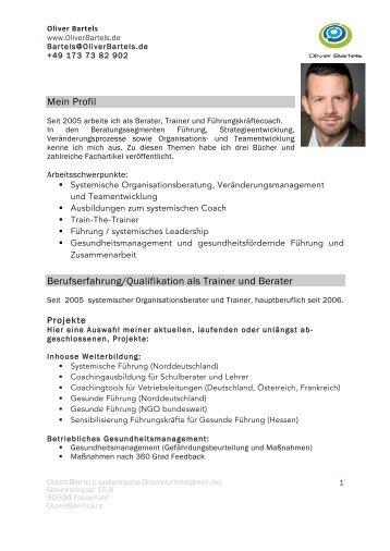 Mein Profil Berufserfahrung/Qualifikation als Trainer und Berater