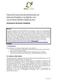 nanotechnologie-anwendungen im lebensmittelbereich ... - Bio Suisse